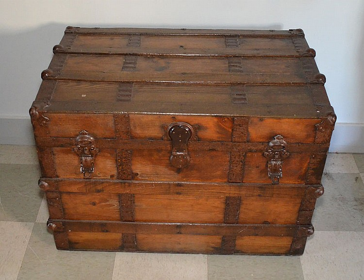 Antique Strapped Wood Trunk