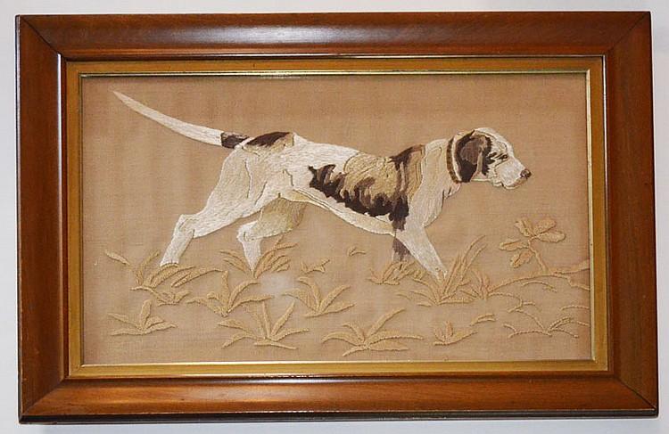 Antique Pointer Hunting Dog Silk Needlework