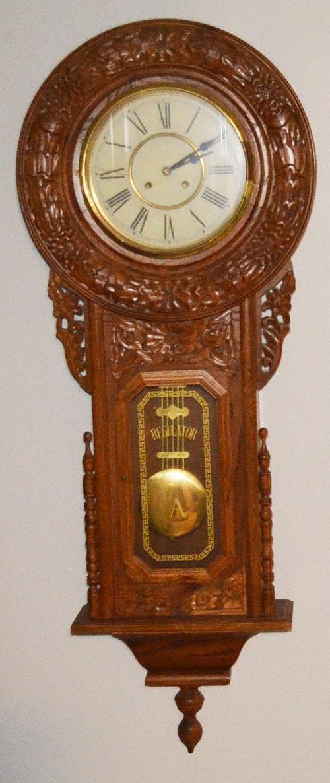 Large Carved Wood Regulator Clock