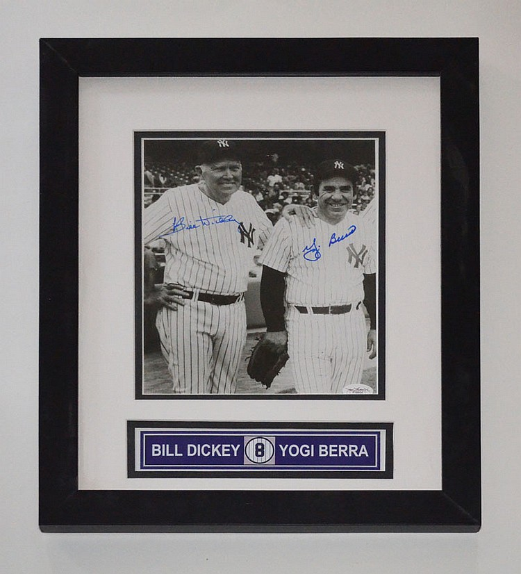Bill Dickey & Yogi Berra Framed Signed Photograph