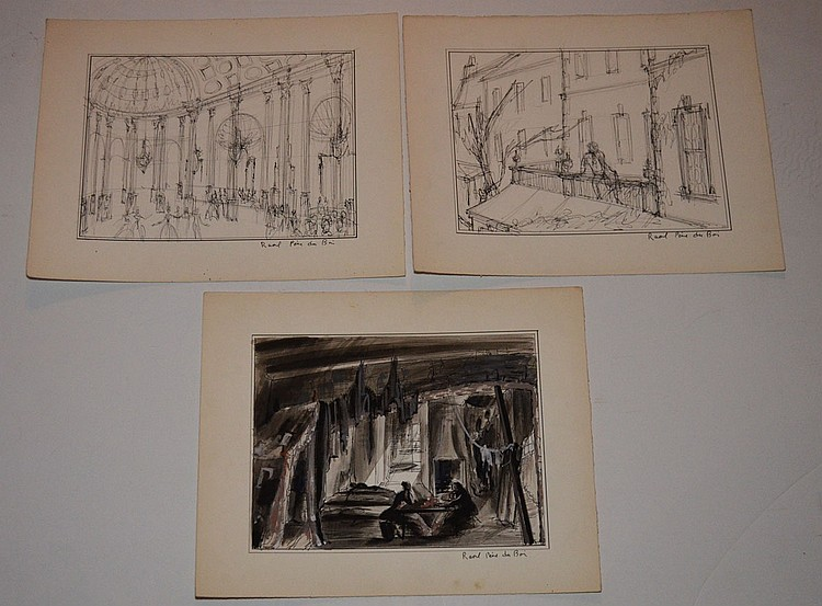 3 Raoul Pene Du Bois Stage Set Design Drawings