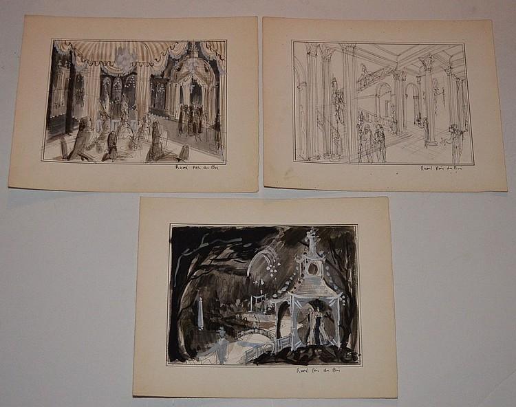 3 Raoul Pene Du Bois Stage Set Design Drawings
