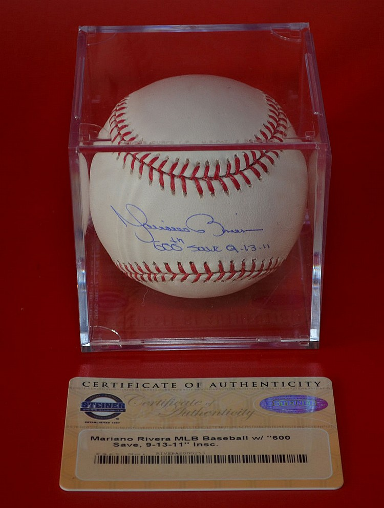 Mariano Rivera 600th Save NY Yankees Signed Ball