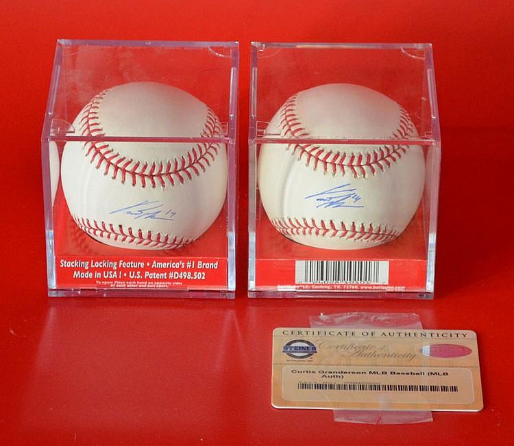 2 Curtis Granderson NY Yankees Signed Baseballs