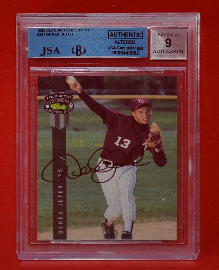 Signed Derek Jeter Rookie Baseball Card