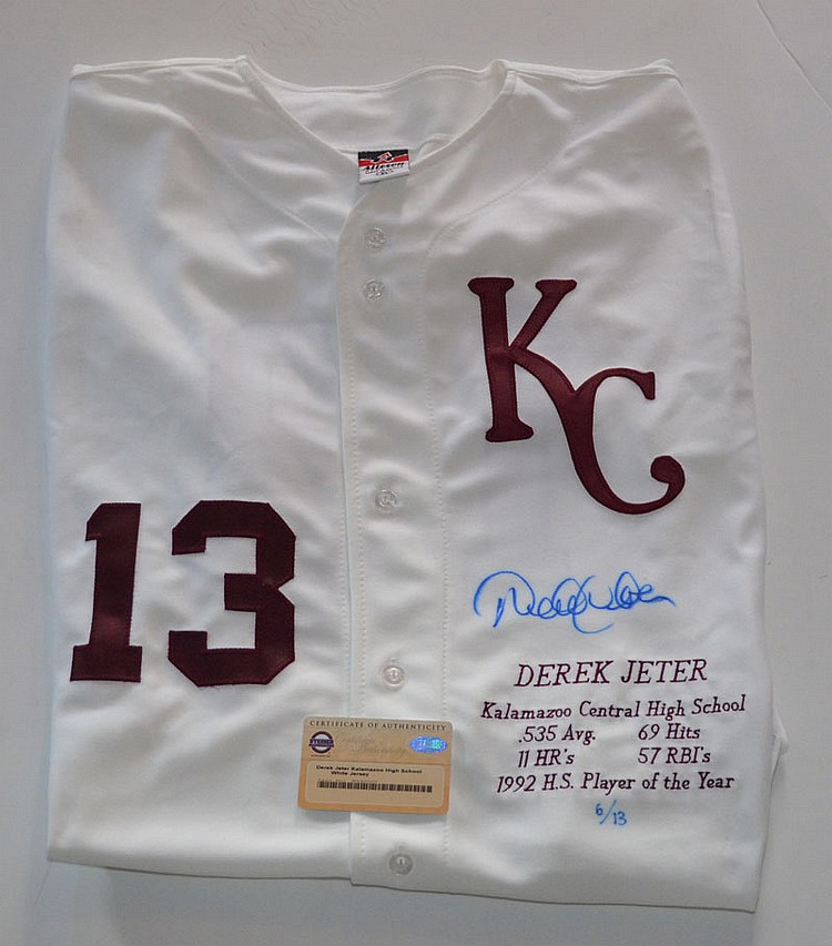 Derek Jeter Rookie Kalamazoo Signed Jersey