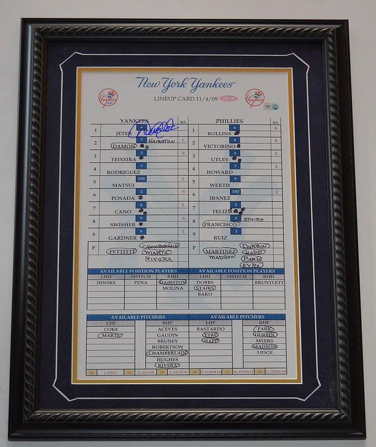 Signed Derek Jeter NY Yankees Series Lineup