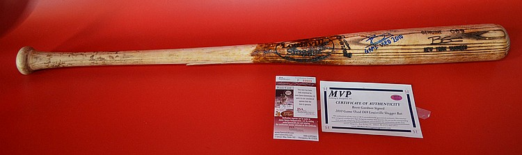Brett Gardner Game Used Signed Baseball Bat