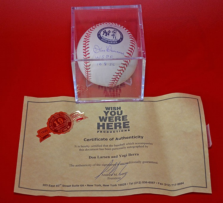 Don Larson & Yogi Berra Signed Baseball