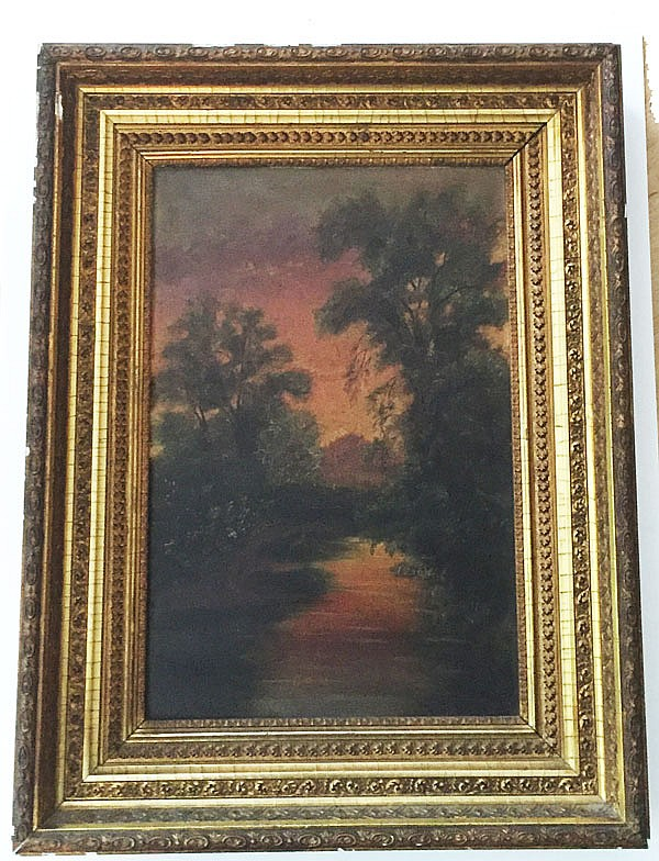 Early Hudson Valley Wooded River Scene Painting