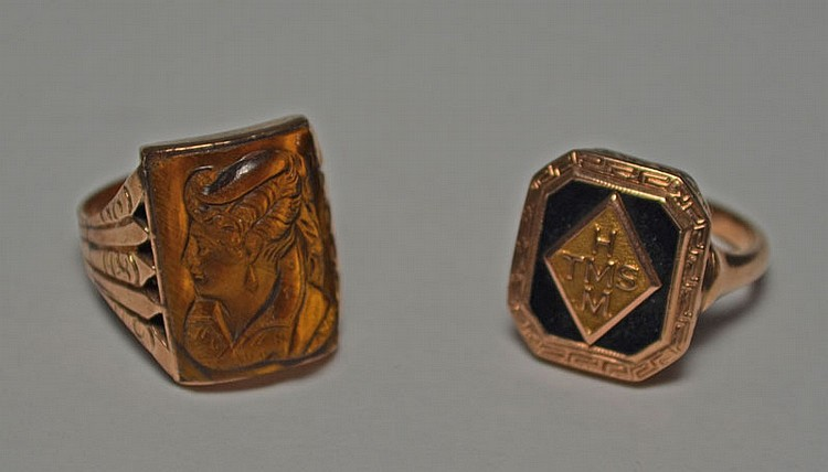 Two Antique 14k Gold Rings (Tiger's Eye, Class)