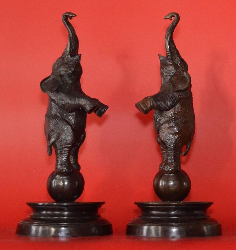 Pr Of Maitland Smith Bronze Dancing Elephants