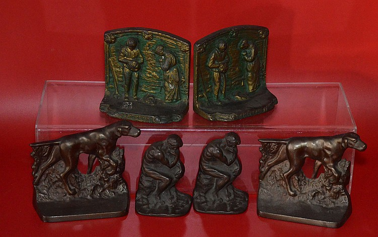 3 Pairs Of Vintage Cast Iron Bookends