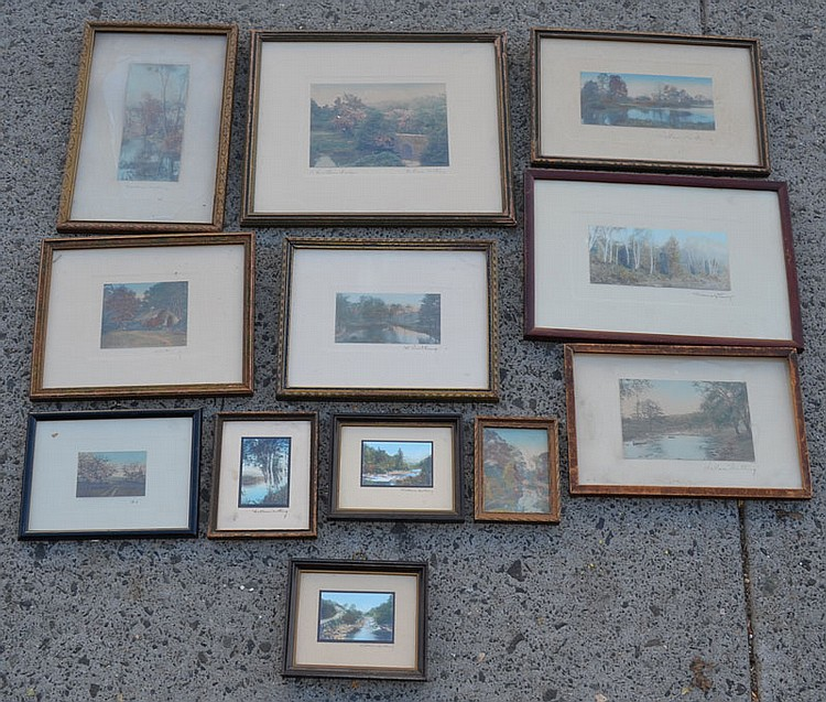 12 Signed Wallace Nutting Painted Pictures