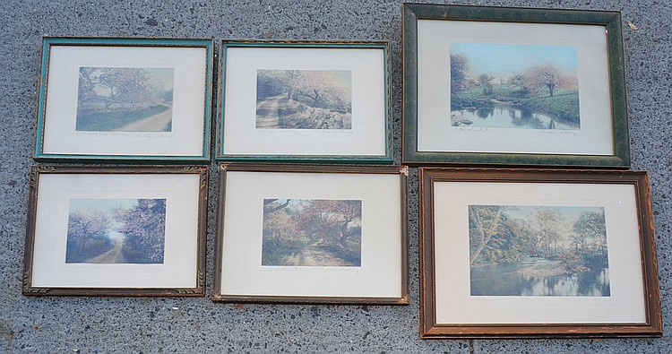 6 Signed Wallace Nutting Painted Pictures