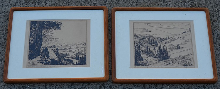 2 Signed Stevenson Etchings Of Montana