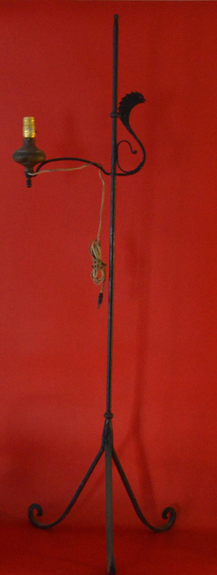 Iron Adjustable Standing Lamp w Bird Motif