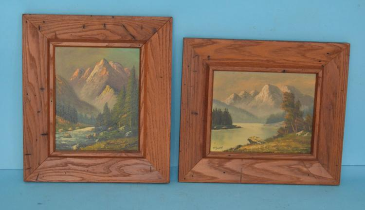 2 Mountain Landscape Paintings Signed Olshof