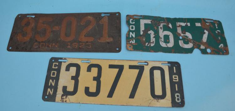 3 Antique Connecticut Car License Plates