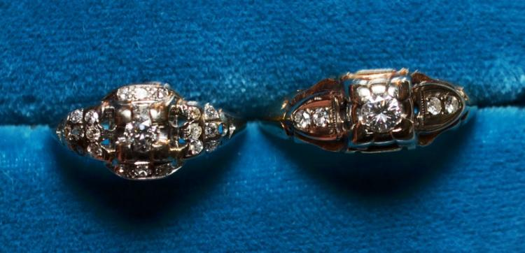 2 14k Gold & Diamond Rings