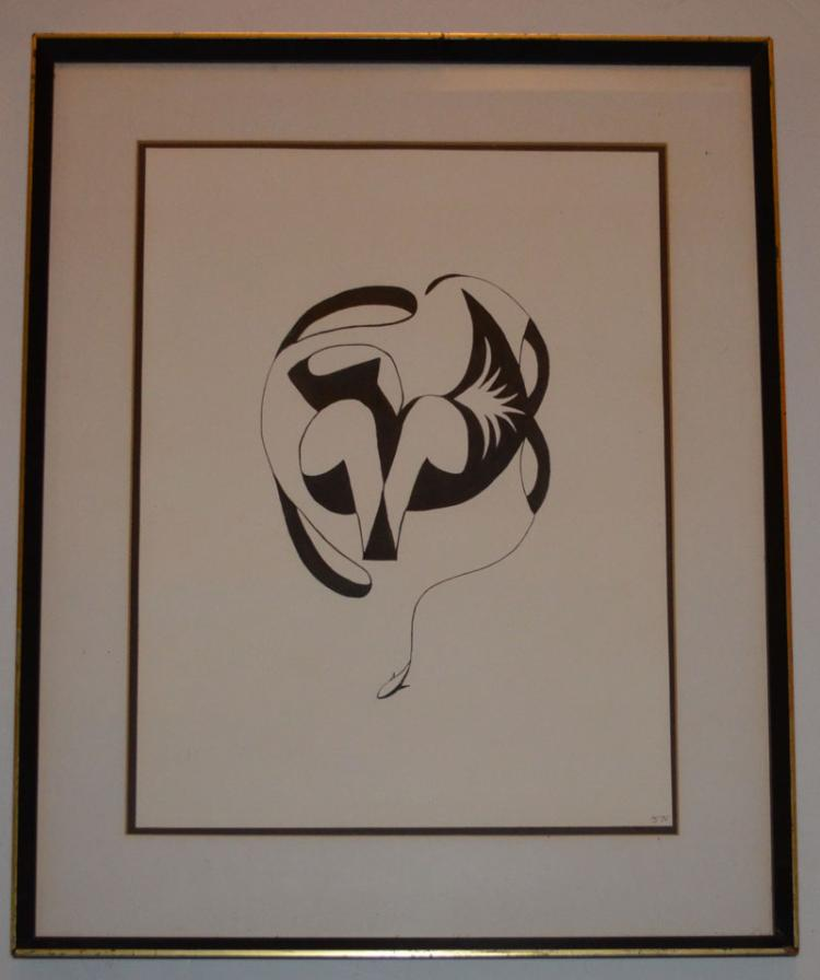 Signed Black & White Abstract Ink Drawing
