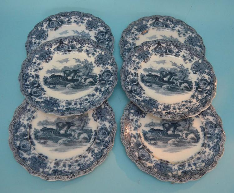 6 Ridgway's Flow Blue Transfer Ware Cow Plates