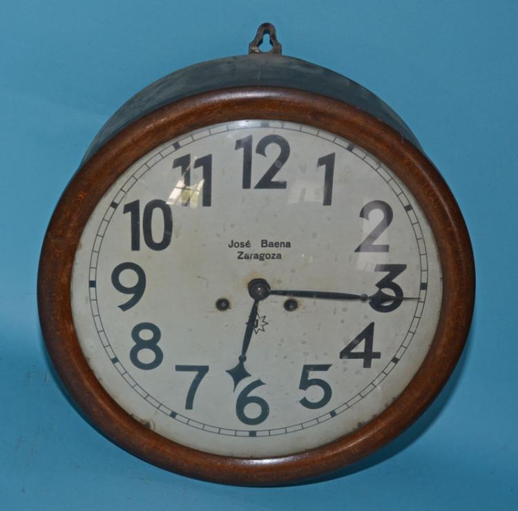 Jose Baena Zaragoza Oak Case Round School Clock