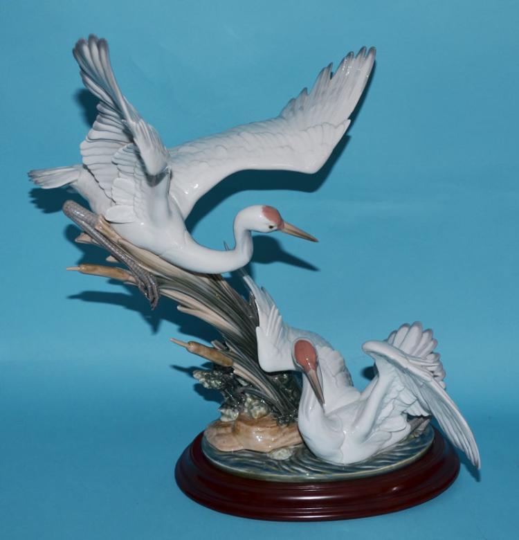Large Lladro Bird Figure Cranes 1456