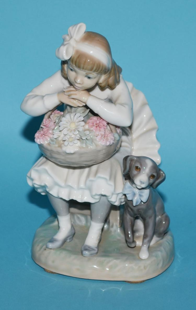Lladro Retired Figurine 1088 Girl with Dog