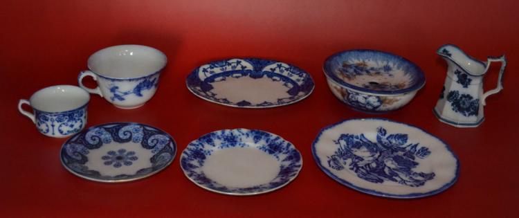 Collection of Antique Flow Blue Porcelain
