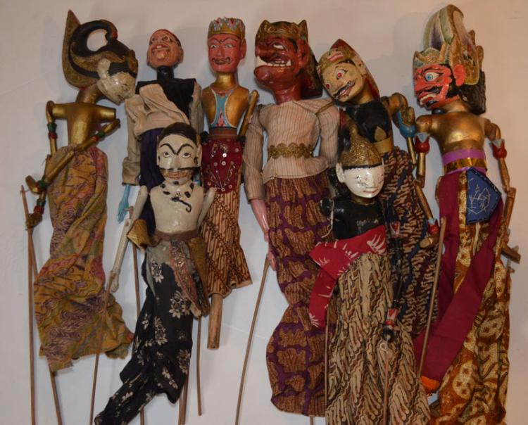 Carved Wooden Indonesian Shadow Puppets
