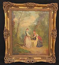 Stunning Painting of 3 French Women Attr. To Fragonard