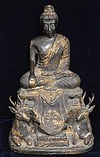 Bronze Buddha Statue with Stags