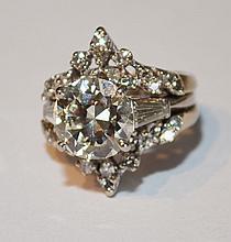 Platinum & 3.24ct Center Stone Diamond Ring