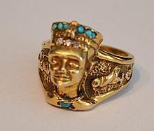 14k Gold Diamond & Turquoise Egyptian Pharaoh Ring