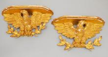 An Impeccable Pair Of  Gilt & Gesso Carved Eagles