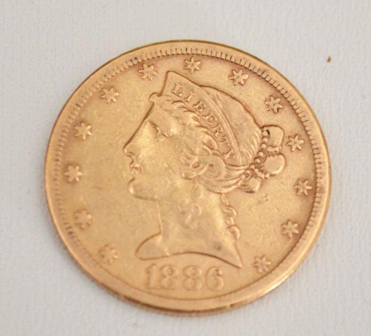 1886 5 dollar Liberty Head Gold Coin