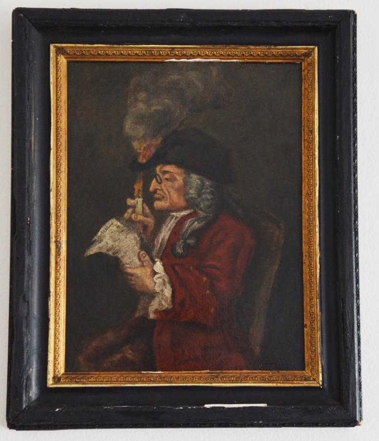 18th Century Portrait Of A Man With Hat On Fire