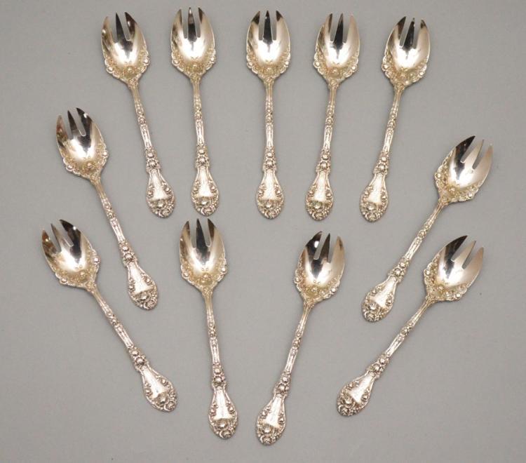 11 Durgin Marechal Niel Sterling Ice Cream Spoons
