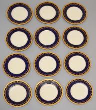 11 Cobalt Gold Encrusted Royal Worcester Plates