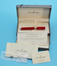 Montegrappa Red Celluloid & Sterling Pen