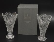 Pr Of Waterford Cut Glass Celebration Vases (1 With Box)