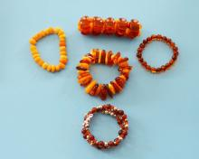 Lot of 5 Amber Bead Bracelets