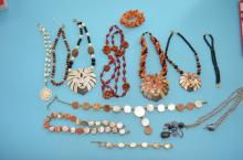 Lot Of Vintage Funky Stone & Shell Costume Jewelry