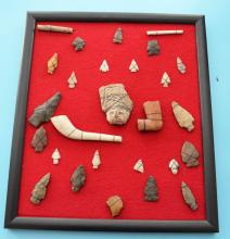 Framed Lot Of Native American Indian Arrowheads, Pipes
