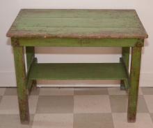 Antique Apple Green Farm Table