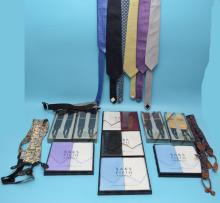 Vintage Men's Lot Of  Handkerchiefs Ties & Suspenders