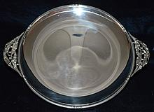 Large Sterling Platter with Art Nouveau Lily Handles