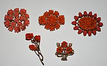 Collection of Coral & Faux Coral Brooches