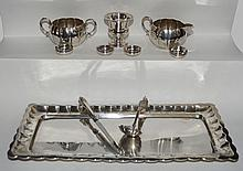 Misc Sterling Silver Lot (Platter, Creamer & Sugar)